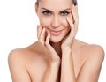 Beautiful spa woman touching her face young fresh healthy skin isolated on white Royalty Free Stock Photography