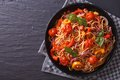 Beautiful spaghetti with minced meat and vegetables, top view Royalty Free Stock Photo