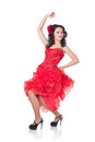 Beautiful Spanish woman in a red dress Royalty Free Stock Photo