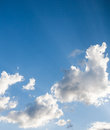Beautiful sparse clouds in the blue sky with copyspace Royalty Free Stock Photography