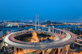 Beautiful spiral in a curve approach bridge at shanghai china Royalty Free Stock Photos