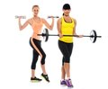 Beautiful sport girls two sporty doing fitness exercises Royalty Free Stock Images