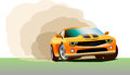 Beautiful sportcar racing sport car drift bern out vector illustration Stock Photography