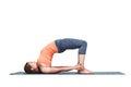 Beautiful sporty fit yogi girl practices yoga asana setu bandhas Royalty Free Stock Photo