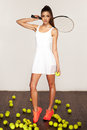 Beautiful sporty sexy woman, tennis player with racket Royalty Free Stock Photo