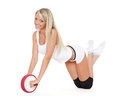 Beautiful sporty woman does exercises white background fitness Stock Photography