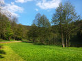 Beautiful spring day at marianske udoli near brno with green grass and blue sky czech republic phone photo Royalty Free Stock Photo