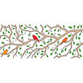 A beautiful spring decoration: three birds are sitting on a branch Royalty Free Stock Photo