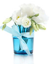 Beautiful spring flowers in blue vase Royalty Free Stock Photography
