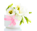 Beautiful spring flowers in vase Stock Photo