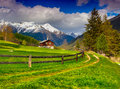 Beautiful spring landscape in the swiss alps Stock Photos
