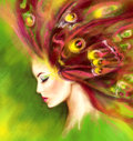 Beautiful Spring Summer woman butterfly. Abstract illustration. Fantasy Portrait Royalty Free Stock Photo