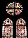 Old church stained - glass window , Lithuania Royalty Free Stock Photo