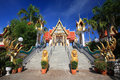 Beautiful staircase entrance to monastery against blue sky at wat sakae in korat downtown thailand Stock Photos