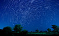Beautiful star trail image during the night Stock Image
