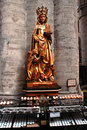 Beautiful statue in the cathedral in brussels of st michael and st gudula holding a model of belgium Stock Photography