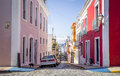 Beautiful steep street in old San Juan, Puerto Rico Royalty Free Stock Photo