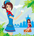 Beautiful stewardess with ticket , Abstract card with palm leave