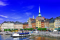 Beautiful stockholm sweeden scenic view of old town and pier in Stock Photos