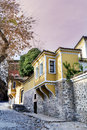 Beautiful  street in the old town of Plovdiv, Bulgaria with  Traditional houses Royalty Free Stock Photo