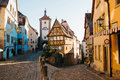 A beautiful street in Rothenburg ob der Tauber with beautiful houses in German style during the Christmas holidays Royalty Free Stock Photo