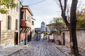 Beautiful  street  with  traditional houses in the old town of Plovdiv, Bulgaria Royalty Free Stock Photo