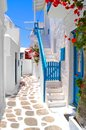 Beautiful streets of greece white mykonos Stock Photos
