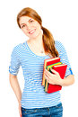 Beautiful student with books smiling Royalty Free Stock Image
