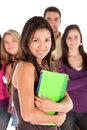Beautiful student and friends Royalty Free Stock Photo