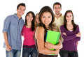 Beautiful student with friends Stock Photography