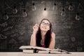 Beautiful student has bright idea Royalty Free Stock Photo