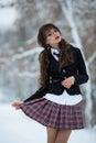 Sexual, beautiful, attractive, seductive student, school girl held checkered skirt.