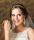 Beautiful  stylish bride getting ready in the room Royalty Free Stock Photo