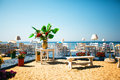 Beautiful and stylish terrace restaurant on beach Royalty Free Stock Photo