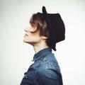Beautiful stylish woman in black hat Royalty Free Stock Photo