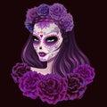 Beautiful sugar skull woman illustration. Day of dead illustration.