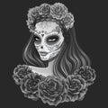Beautiful sugar skull woman illustration Day of dead Royalty Free Stock Photo