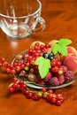 Beautiful summer berries raspberries gooseberries apricots red and black currants on a plate Stock Images