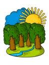 Beautiful summer cartoon landscape. Trees, sun, sky, blue river and green grass.
