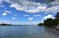 Beautiful Summer Day with Fluffy White Clouds Above Casco Bay Royalty Free Stock Photo