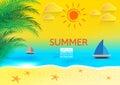 Beautiful summer holidays illustration. Beach Seashore. Vector background