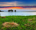 Beautiful summer landscape on the river sunrise Stock Images