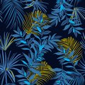 Beautiful Summer night Seamless monotone blue and yellow tropical pattern. Leaves palm tree illustration. Modern graphics. Exotic