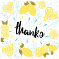 Beautiful summer posters with lemons and hand written text thanks cute fresh typographic banner abstract giving card yellow citrus Stock Photo