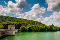 Beautiful summer sky over prettyboy reservoir and dam in baltim baltimore county maryland Royalty Free Stock Photos