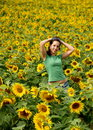 BEAUTIFUL SUNFLOWER GIRL Royalty Free Stock Photo