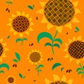 Beautiful sunflowers seamless floral pattern on orange sunny background