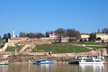 Beautiful, sunny landscape of Belgrade fortress Kalemegdan and river Sava Royalty Free Stock Photo