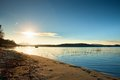 Beautiful sunrise at empty beach, Mediterranean Sea  island Royalty Free Stock Photo