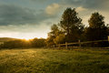 Beautiful sunrise on the farm Royalty Free Stock Photo
